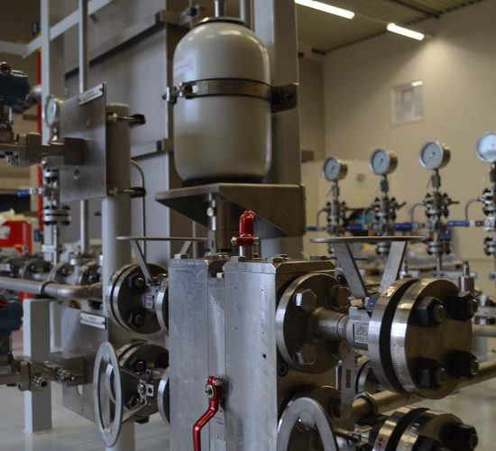 Filter and accumulator on skid for use in the oil & gas industry